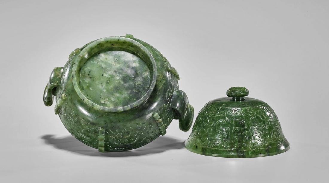 QING DYNASTY CARVED SPINACH JADE CENSER - 3