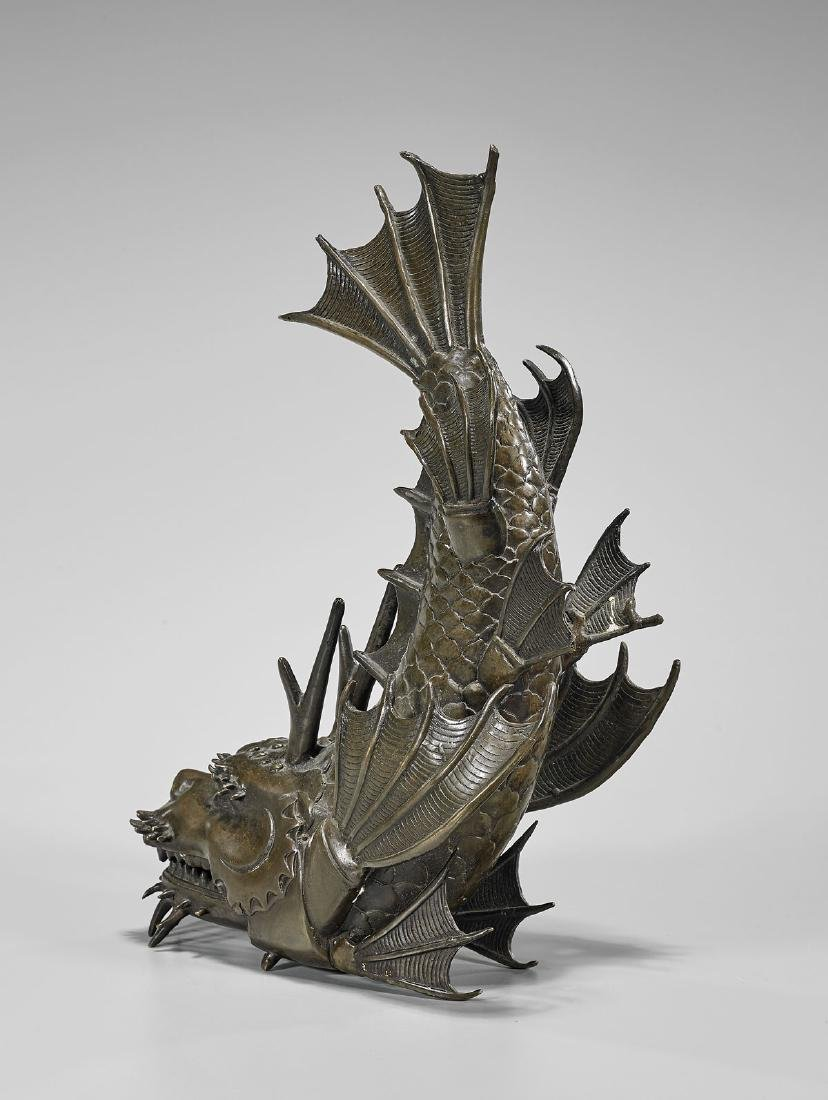 JAPANESE ARTICULATED BRONZE DRAGON FISH - 2
