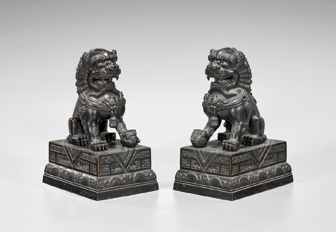 PAIR CHINESE BRONZE GUARDIAN LIONS