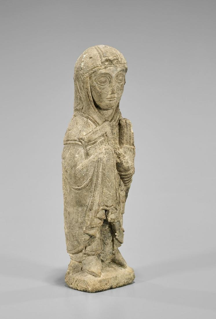 ROMANESQUE LIMESTONE FIGURE OF THE VIRGIN - 2