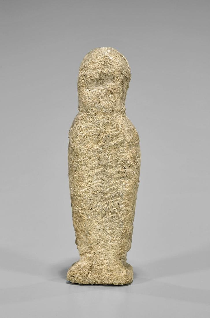 ROMANESQUE LIMESTONE FIGURE OF THE VIRGIN - 3