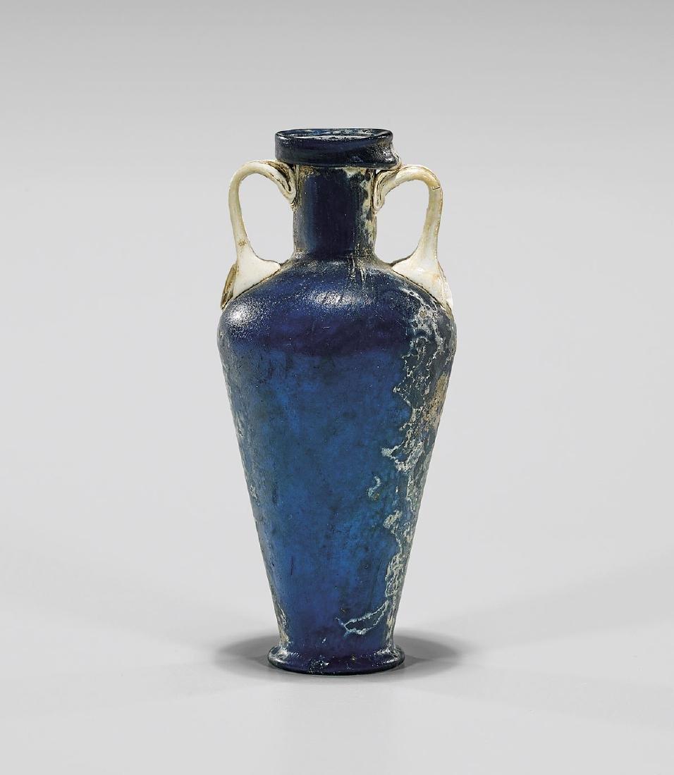 RARE BLUE & WHITE GLASS AMPHORISKOS