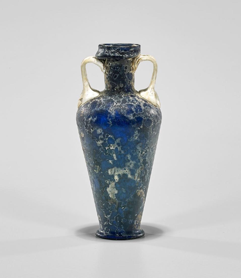 RARE BLUE & WHITE GLASS AMPHORISKOS - 2
