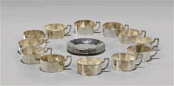 GERMAN SILVER TEA SET BY JAKOB GRIMMINGER