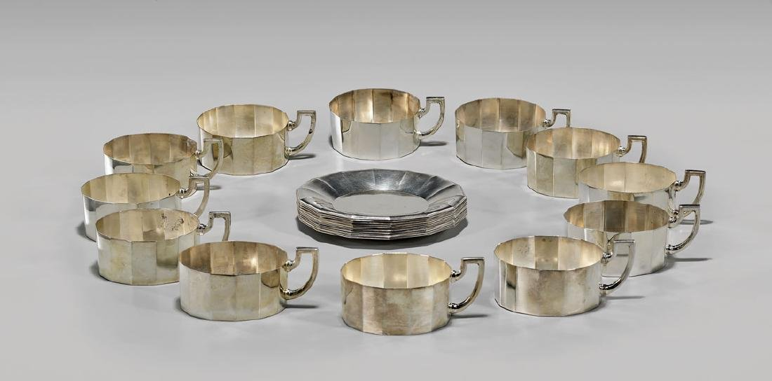 GERMAN SILVER TEA SET BY JAKOB GRIMMINGER