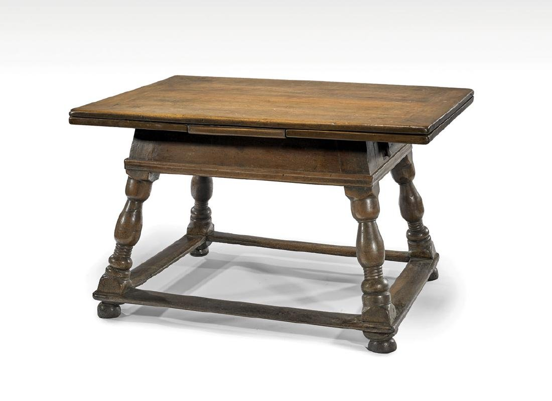 17TH CENTURY SWISS WOOD DRAW-LEAF TABLE