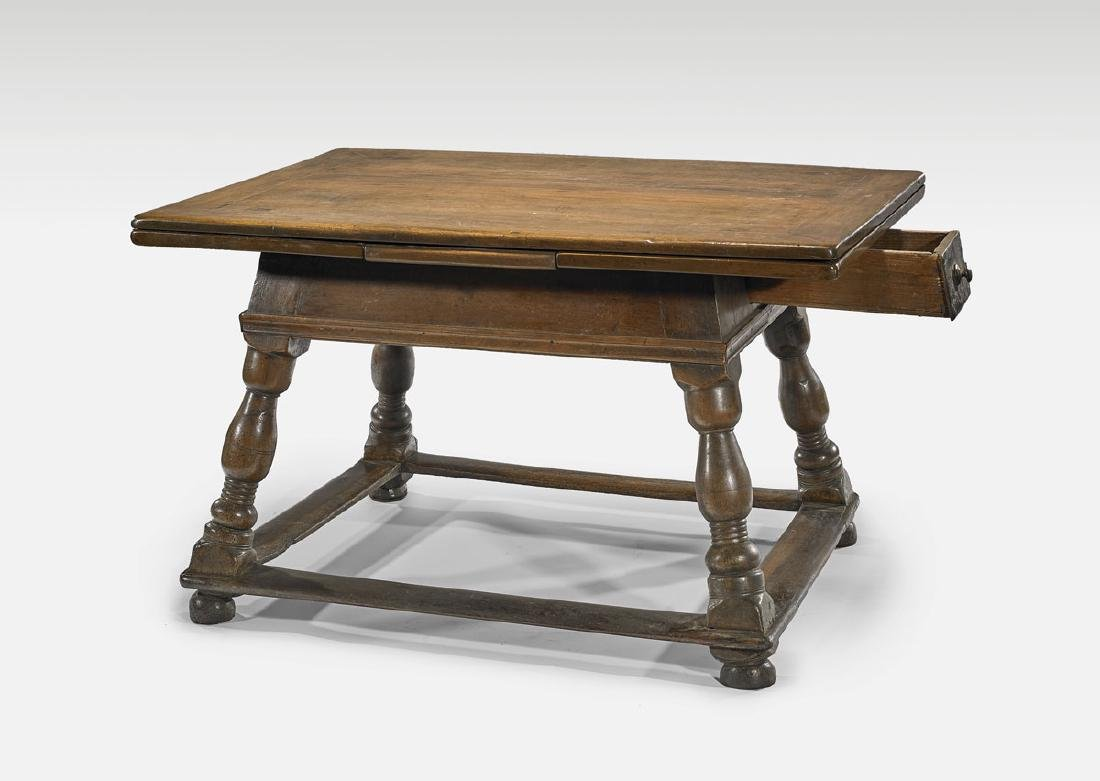 17TH CENTURY SWISS WOOD DRAW-LEAF TABLE - 2