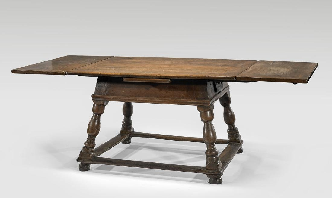 17TH CENTURY SWISS WOOD DRAW-LEAF TABLE - 3