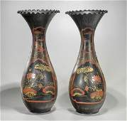 Pair Tall Antique Japanese Arita Lacquered Vases
