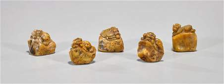 Set of Five Chinese Shoushan Seal Stones