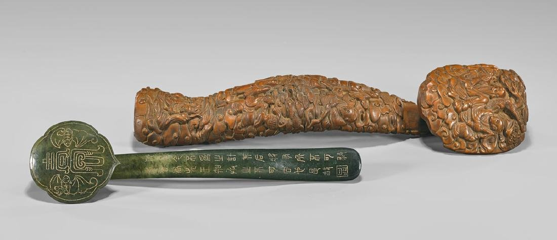 TWO CHINESE CARVED RUYI SCEPTERS