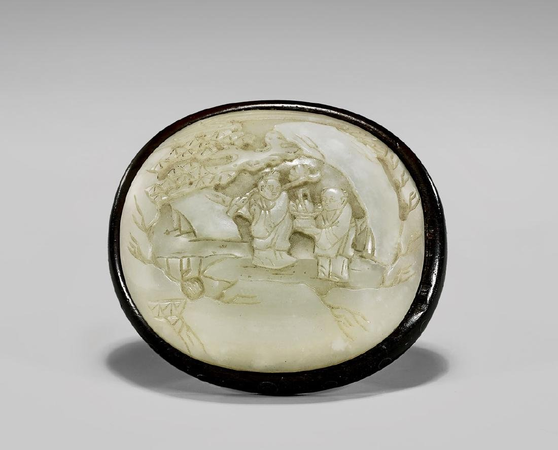 19TH CENTURY CARVED WHITE JADE PLAQUE