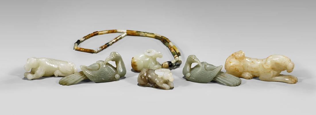 GROUP OF CHINESE CARVED JADE ANIMALS