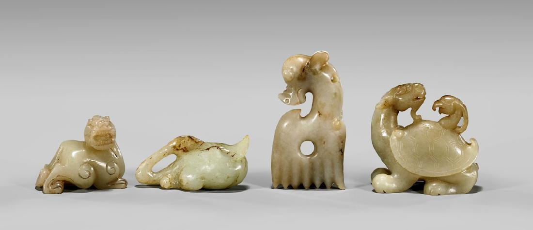FOUR CHINESE CARVED JADE ANIMALS