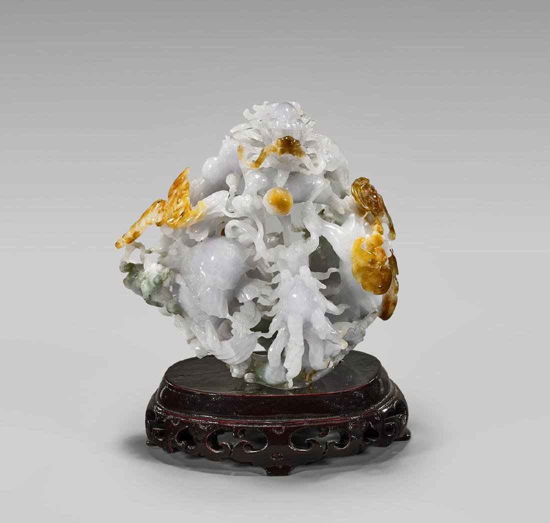 CHINESE CARVED JADEITE 'DRAGON & FISH' GROUP