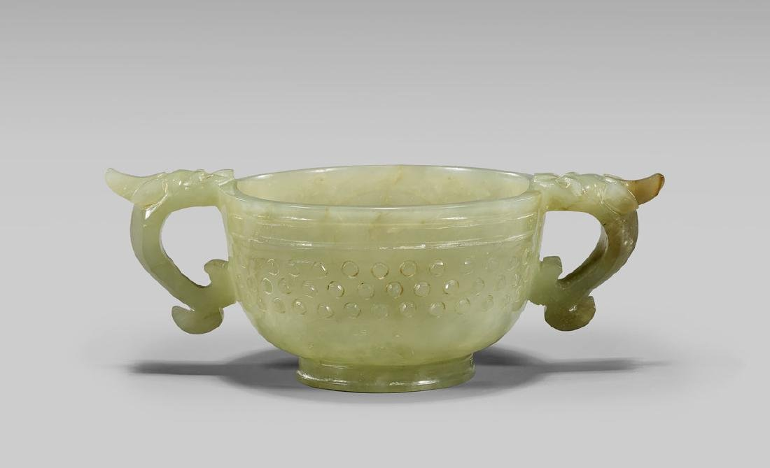 CHINESE CARVED CELADON JADE CUP - 2