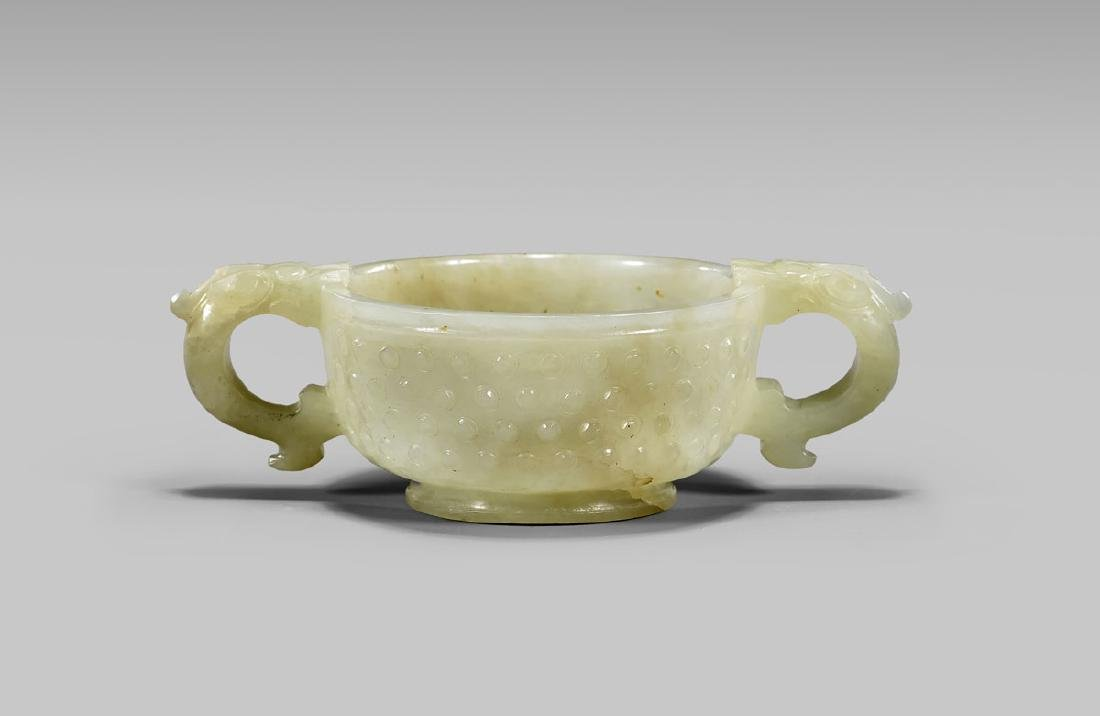 19TH CENTURY CARVED JADE CUP