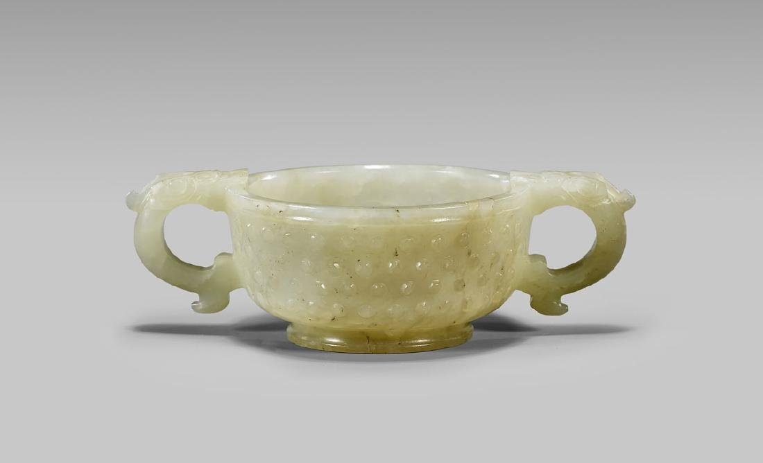 19TH CENTURY CARVED JADE CUP - 2