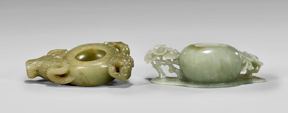 TWO CARVED JADE BRUSH WASHERS
