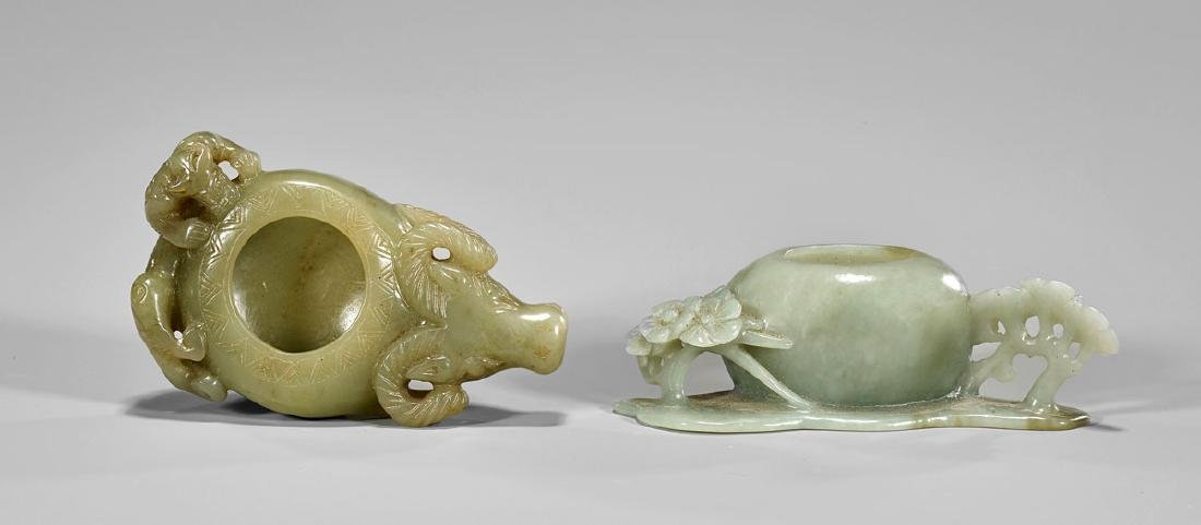 TWO CARVED JADE BRUSH WASHERS - 2