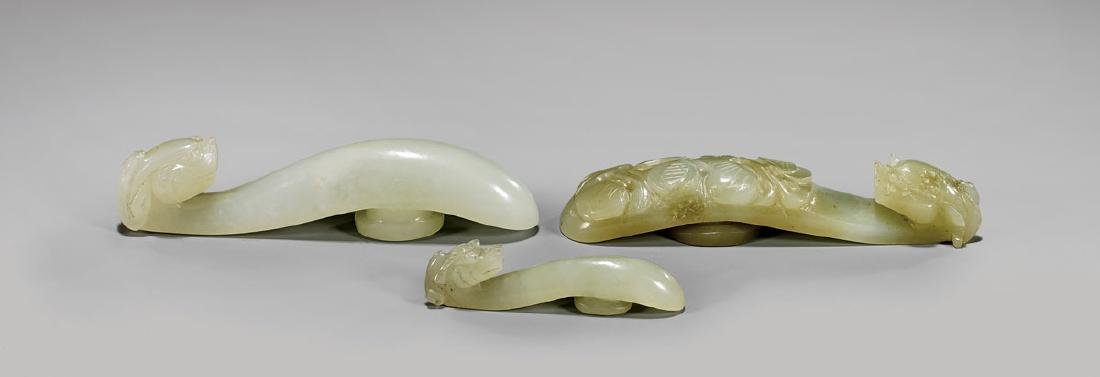 THREE 19TH CENTURY JADE BELT HOOKS