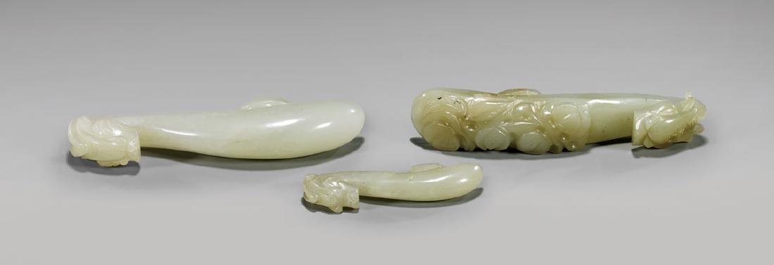 THREE 19TH CENTURY JADE BELT HOOKS - 2