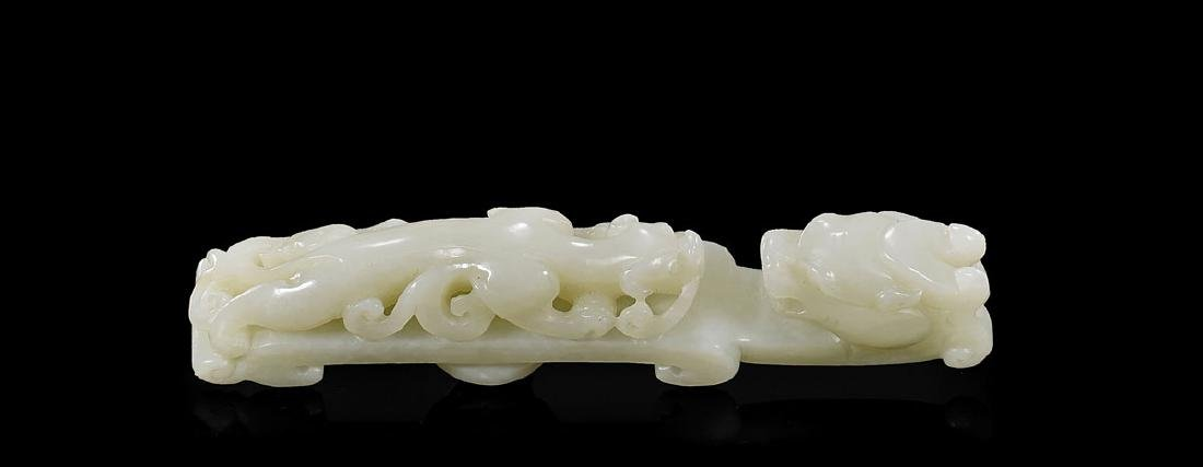 CARVED JADE 'DRAGON & CHILONG' BELT HOOK