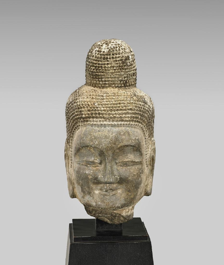 TANG DYNASTY CARVED STONE HEAD OF BUDDHA