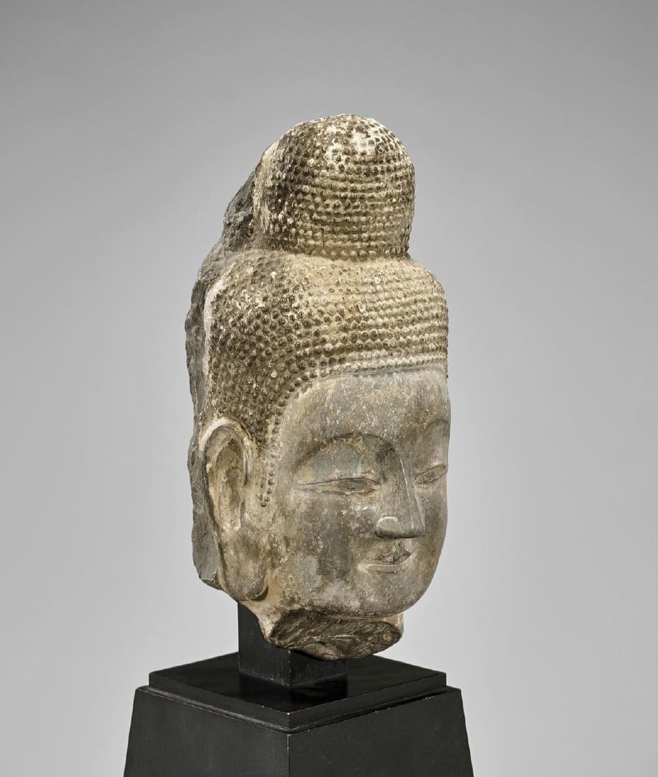 TANG DYNASTY CARVED STONE HEAD OF BUDDHA - 2