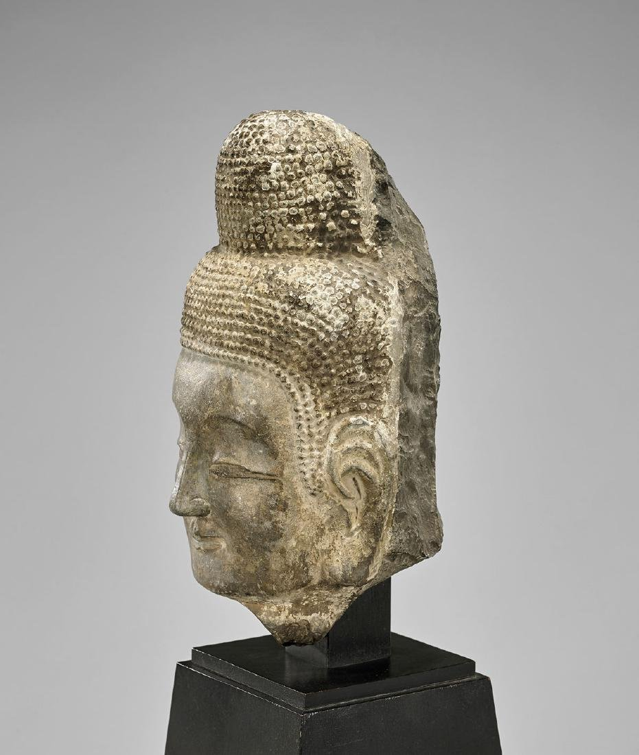 TANG DYNASTY CARVED STONE HEAD OF BUDDHA - 3