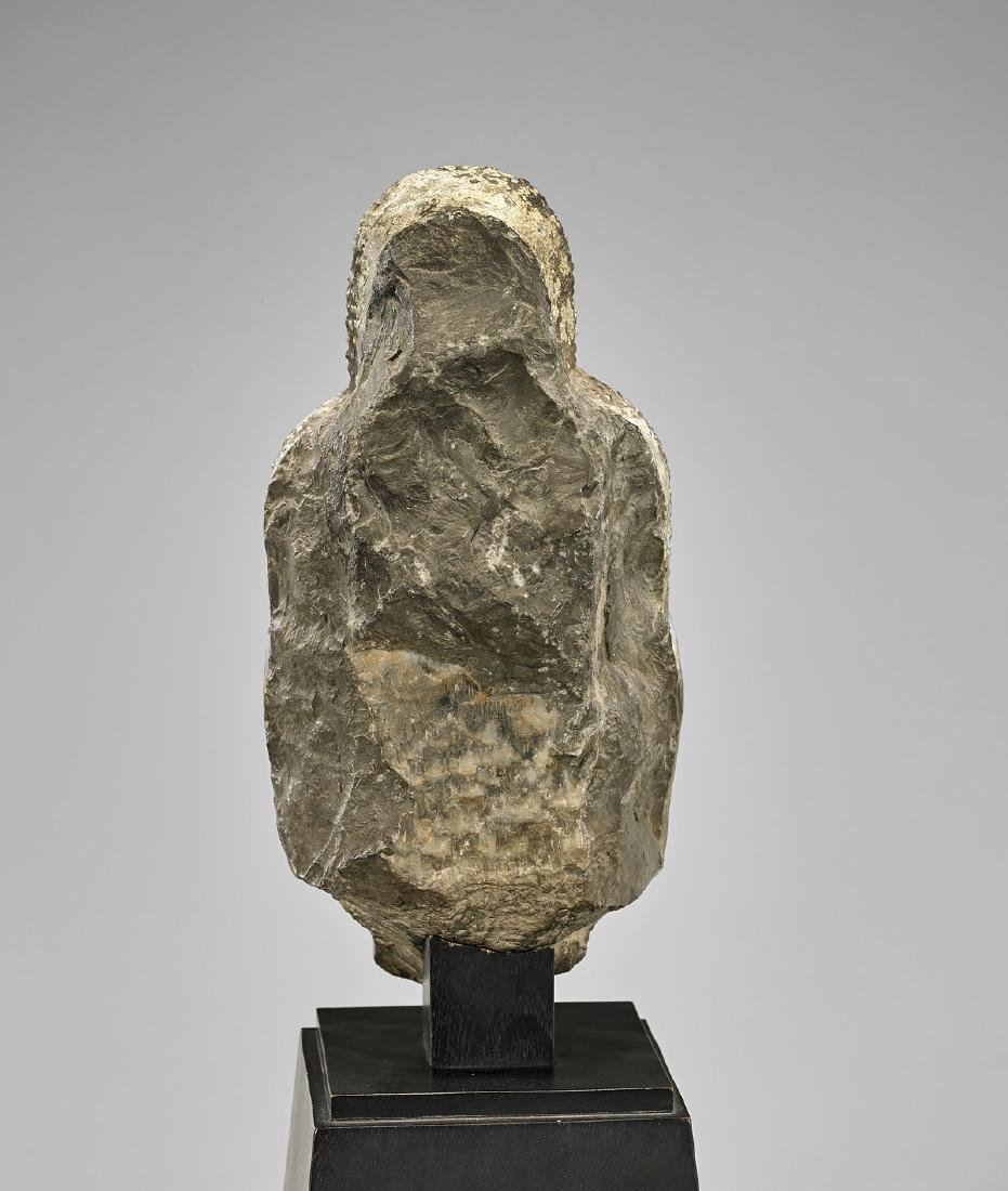 TANG DYNASTY CARVED STONE HEAD OF BUDDHA - 4