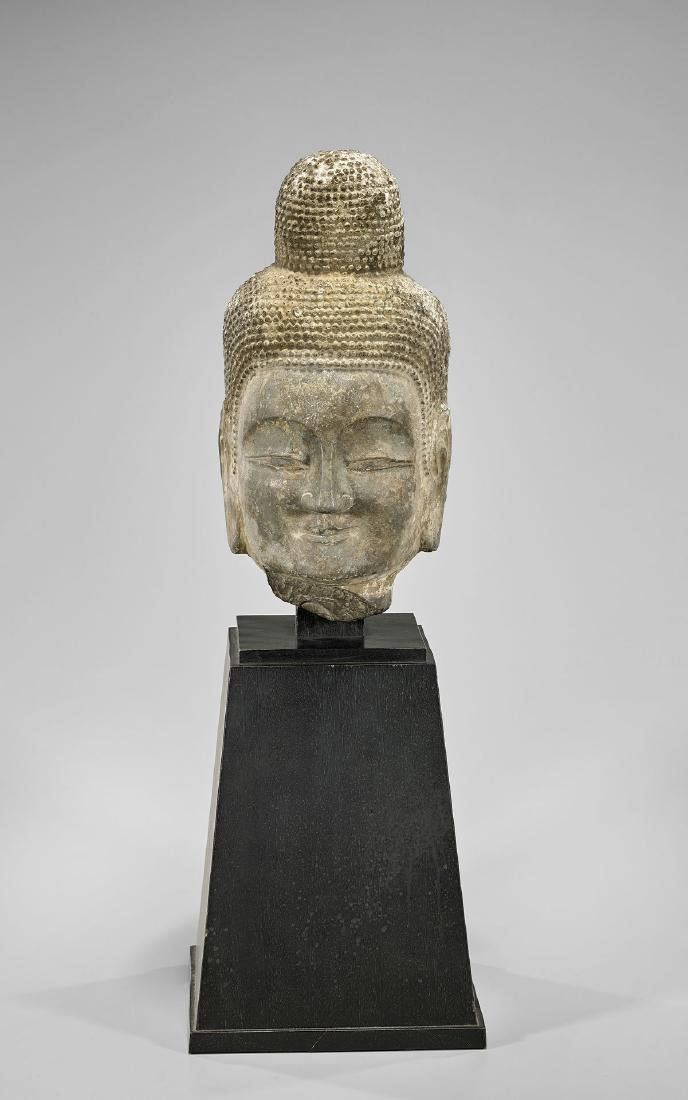 TANG DYNASTY CARVED STONE HEAD OF BUDDHA - 5