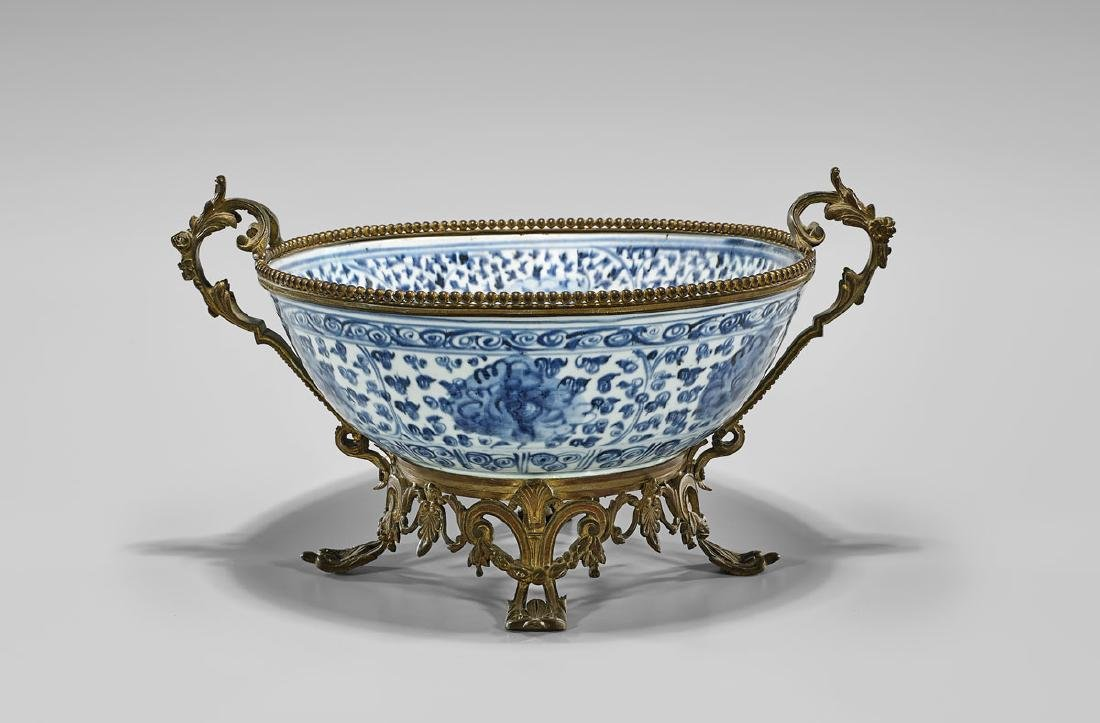 ORMOLU-MOUNTED MING DYNASTY PORCELAIN BOWL