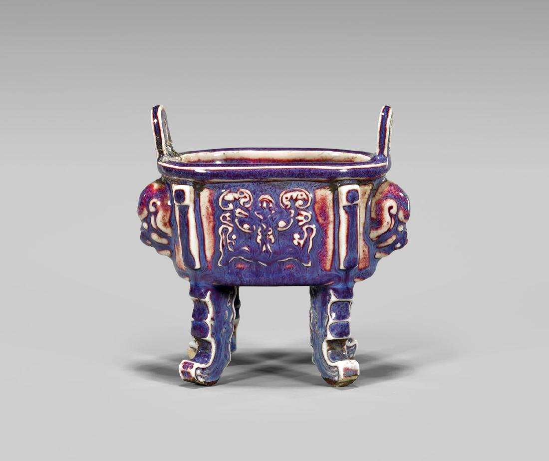 JIAQING MARK AND PERIOD FLAMBE GLAZED 'DING'