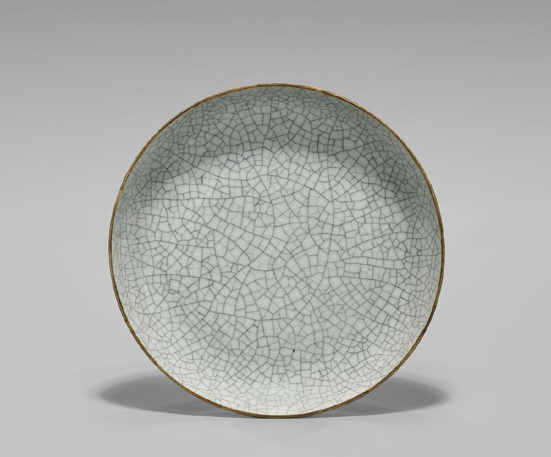 19TH CENTURY CRACKLE-GLAZED DISH - 2