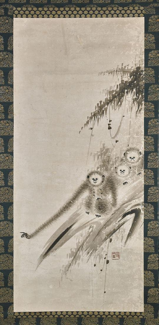 JAPANESE SCROLL PAINTING: Gibbons