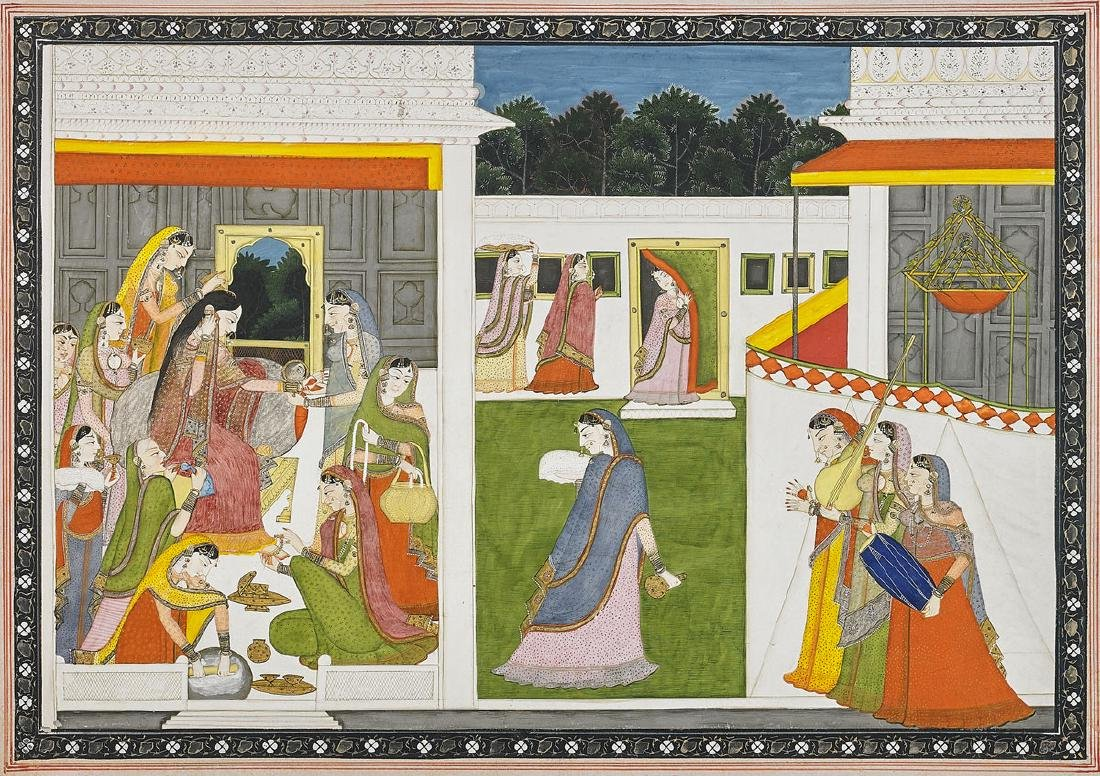 KANGRA SCHOOL PAINTING: Radha Preparing for a Tryst