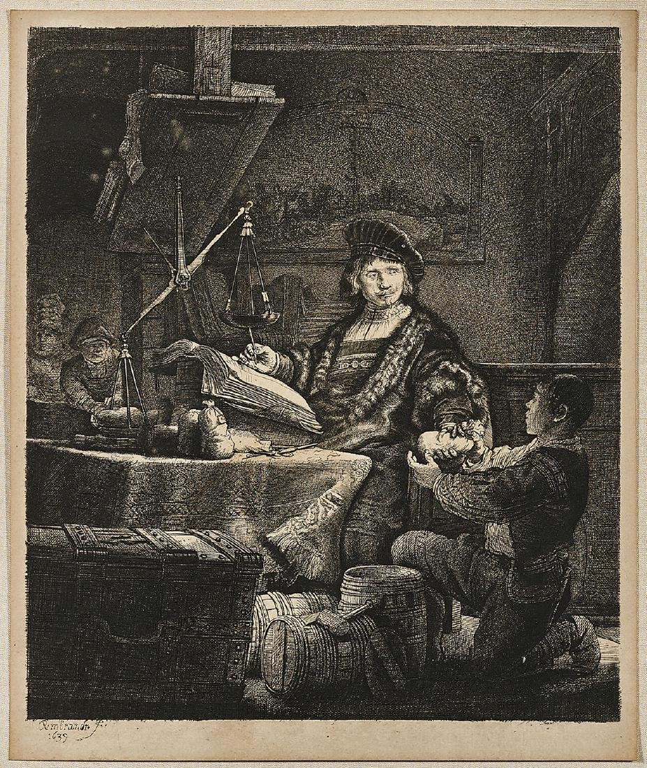 ETCHING AFTER REMBRANDT: Jan Uytenbogaert (The Gold