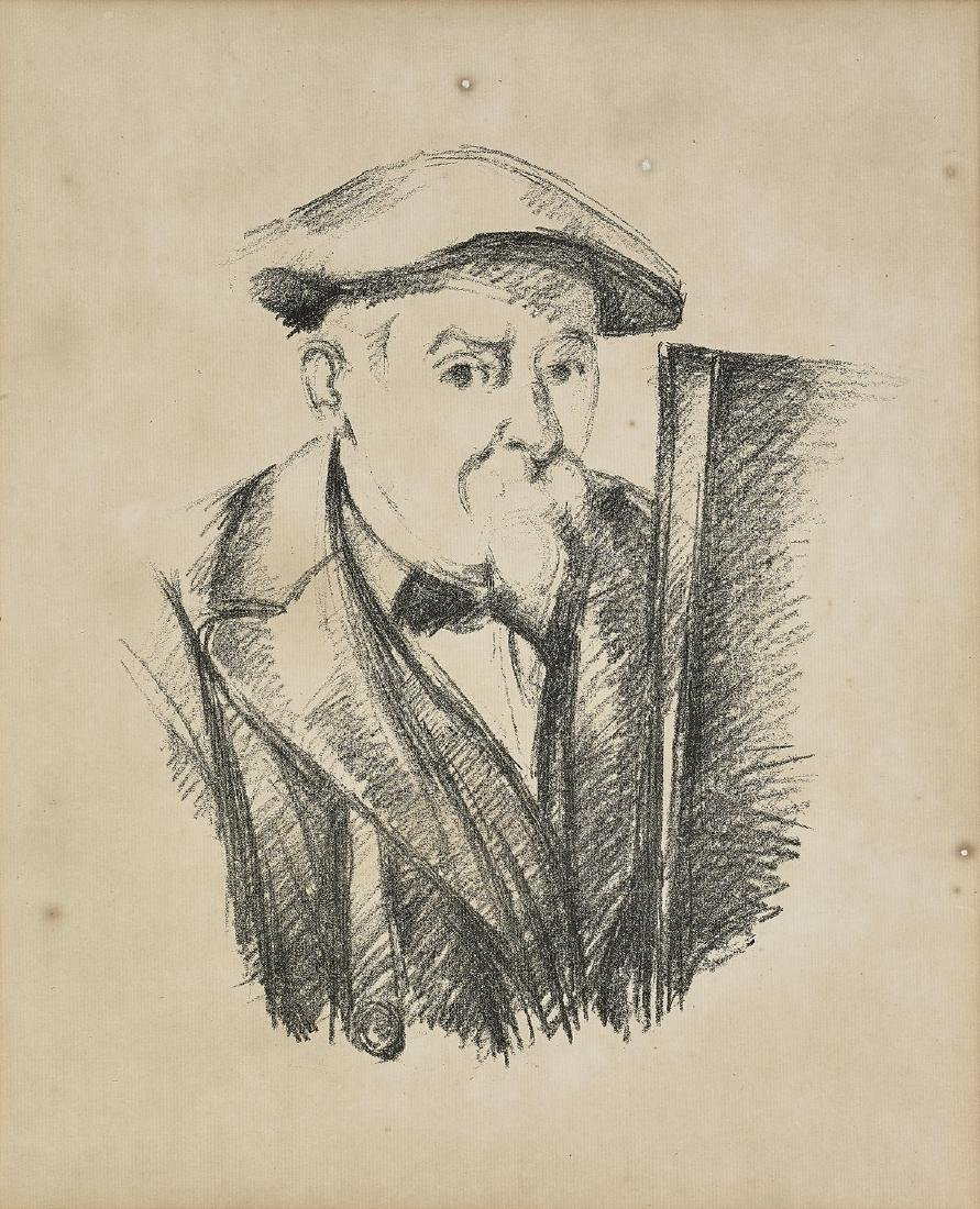 LITHOGRAPH AFTER PAUL CEZANNE: Self-Portrait at the