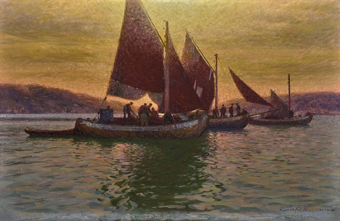 LARGE OIL PAINTING ON CANVAS: Fishing Boats