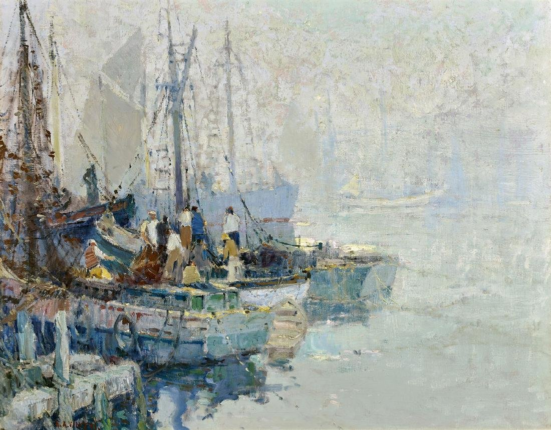 PAINTING BY HARRY AIKEN VINCENT: Gloucester Harbor