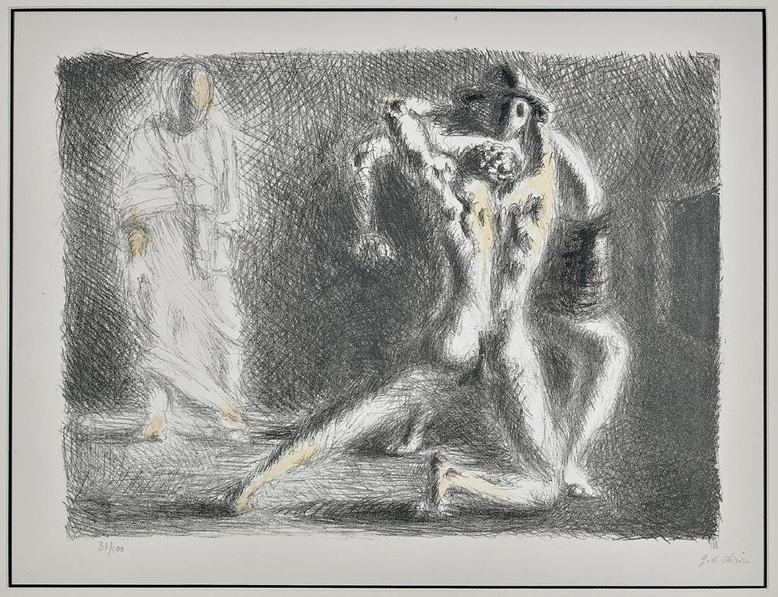 LITHOGRAPH BY GIORGIO DE CHIRICO: Scuola di Gladiatori
