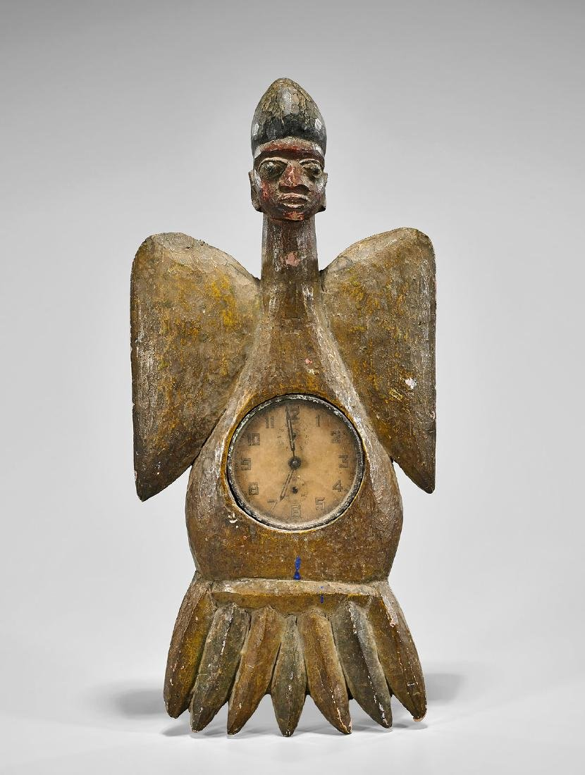 NIGERIAN POLYCHROME WOOD FIGURAL CLOCK