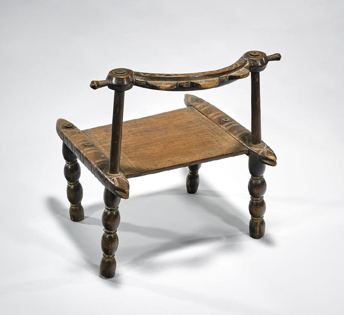 SENUFO CARVED WOOD CHAIR - 2
