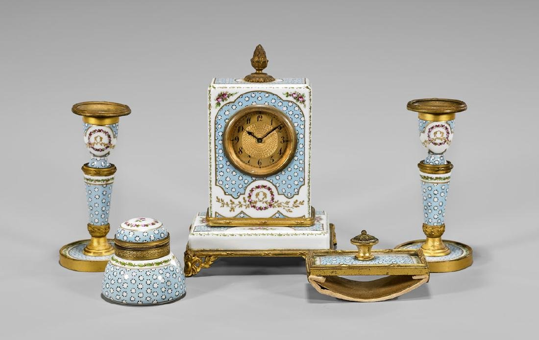 SEVRES-STYLE ORMOLU-MOUNTED PAINTED PORCELAIN SET
