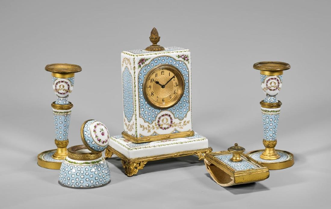 SEVRES-STYLE ORMOLU-MOUNTED PAINTED PORCELAIN SET - 2