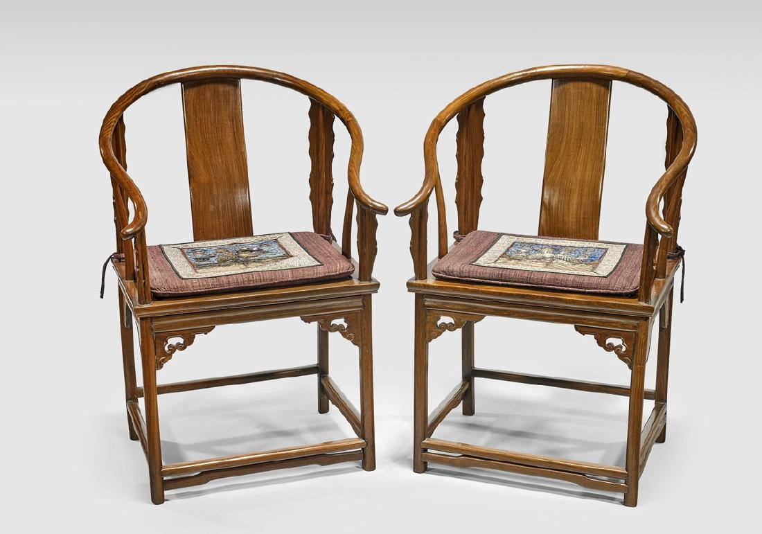 PAIR CHINESE HARDWOOD HORSESHOE-BACK ARMCHAIRS