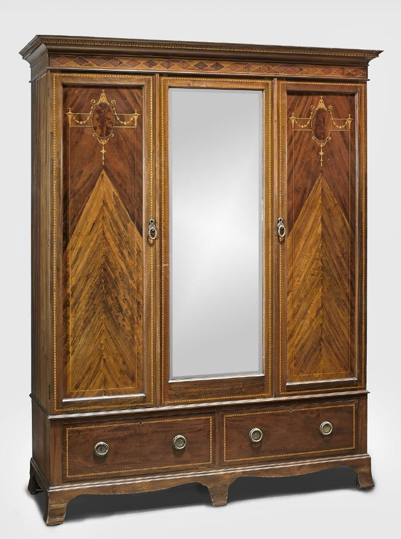 EDWARDIAN MARQUETRY WOOD ARMOIRE
