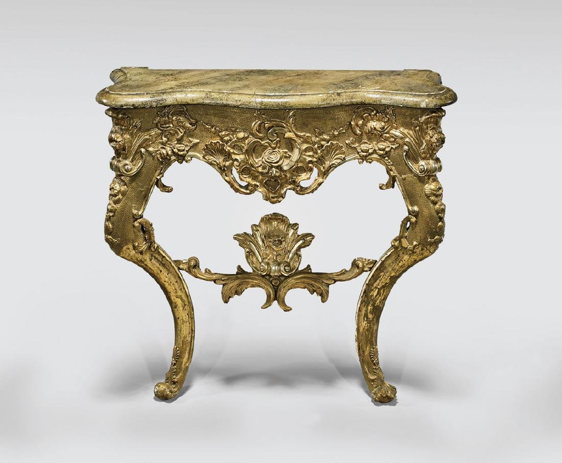 CONTINENTAL GILT WOOD CONSOLE TABLE