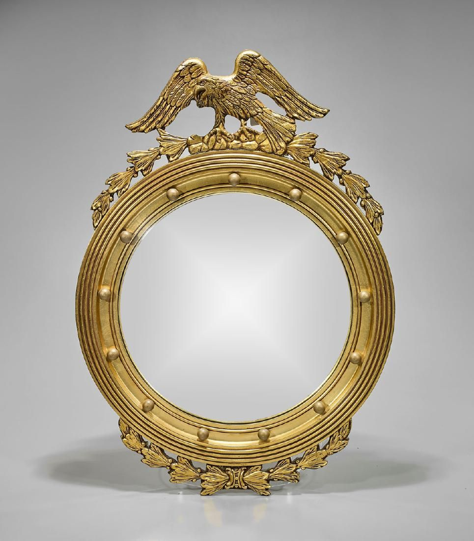 Carved Gilt Wood Federal-Style Convex Mirror